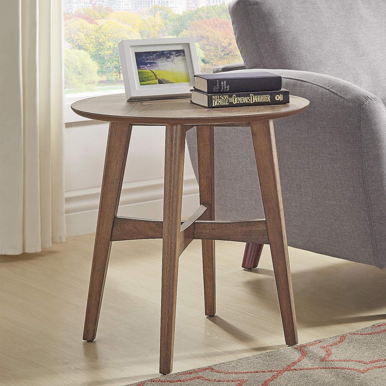 Amazon com inspire q rona wood end table modern walnut walnut finish wood finish kitchen dining
