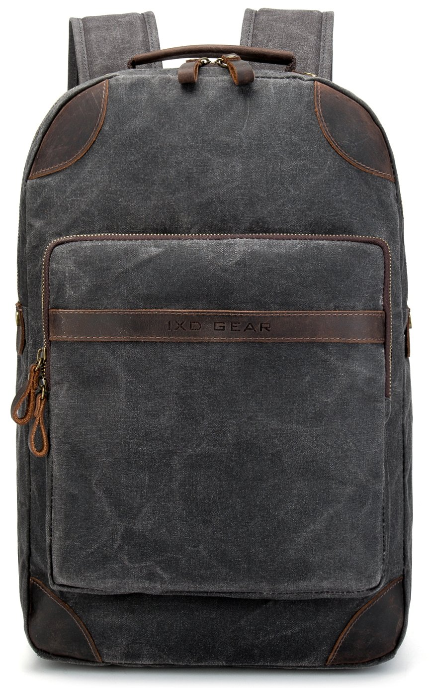 Vintave Waterproof Oil Waxed Canvas Genuine Crazy Horse Leather College Weekend Travel Laptops Backpack Fit to Laptop Up to 15.6 Inch By 1XD GEAR by 1XD GEAR (Image #2)