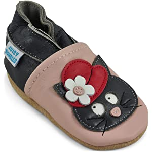 carozoo bird red 3-4y soft sole leather toddler shoes slippers