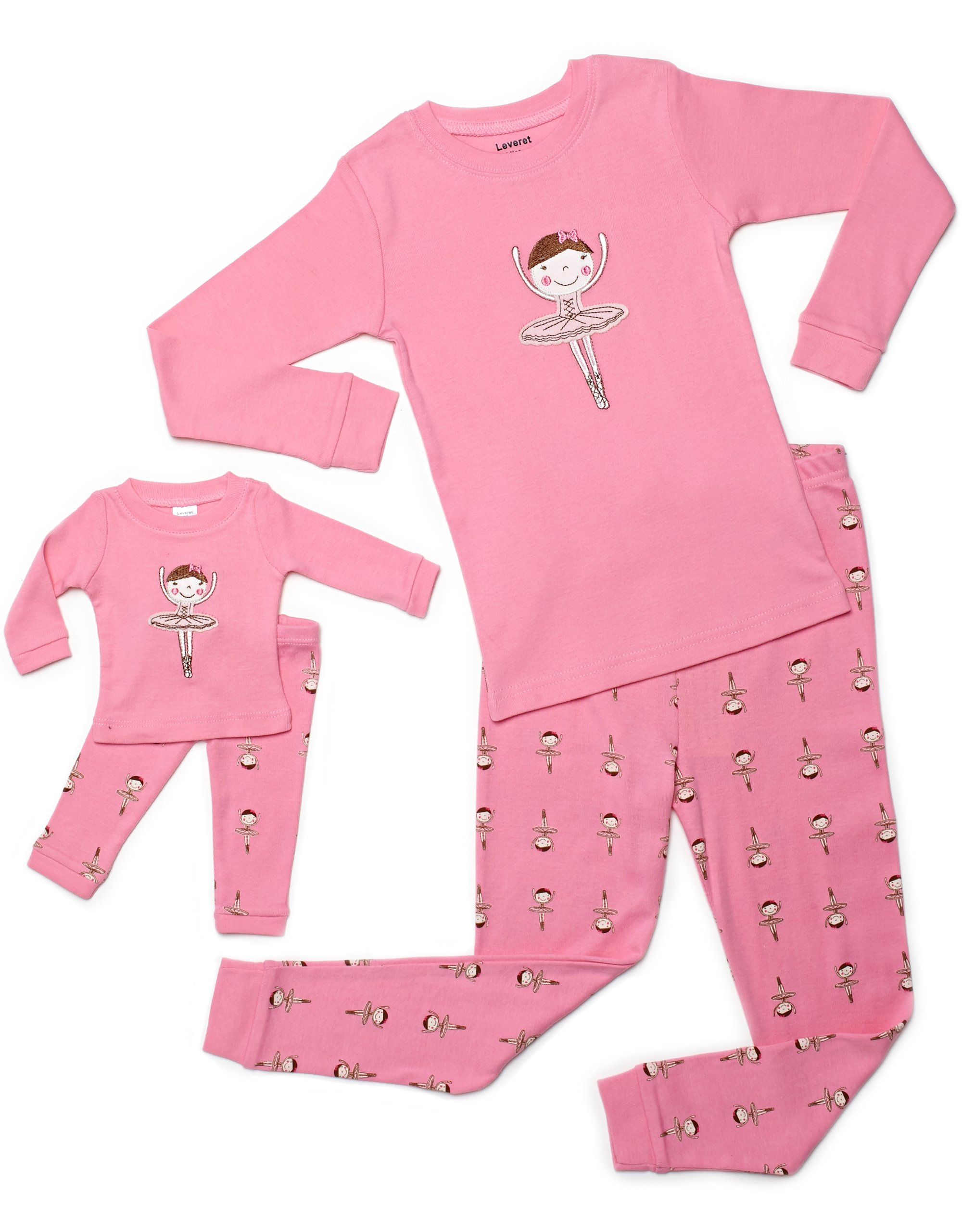 Leveret Ballerina Matching Doll & Girl 2 Piece Pajama Set 100% Cotton (14 Years)