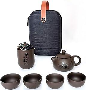 100% Handmade Portable Purple Clay Chinese Kung Fu Tea set Tea Pot set Porcelain Teapot & Teacups with a Portable Travel Bag