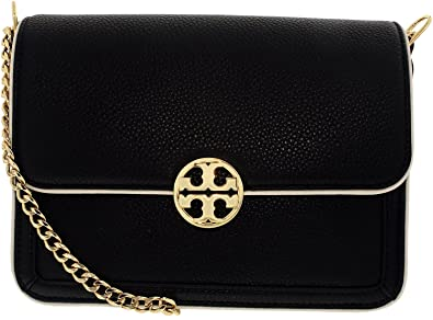 53bcdf036f6 Tory Burch Women s Duet Chain Convertible Leather Shoulder Bag - Black New  Ivory