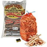FIRE PIT & CHIMINEA STARTER PACK- 5 Blazers Fuel Logs, 3KG Kindling & Tigerbox Safety Matches