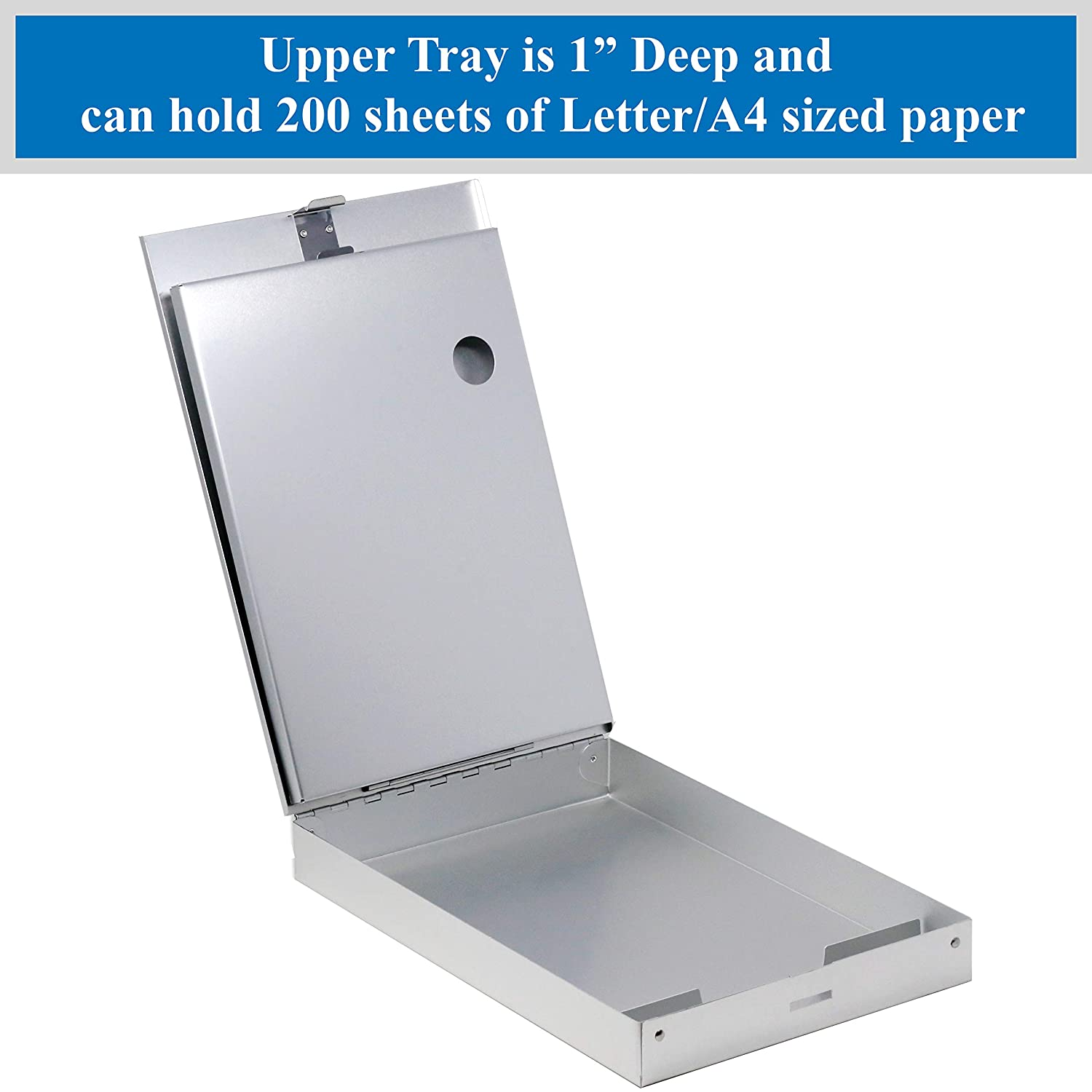 Dual Tray Compartments Provides More Storage and Sturdiness and it Holds 300 Letter Sized Paper Durable /& Sleek Low Profile Clip Holds 50 Paper. Think2Master Aluminum Dual Storage Clipboard