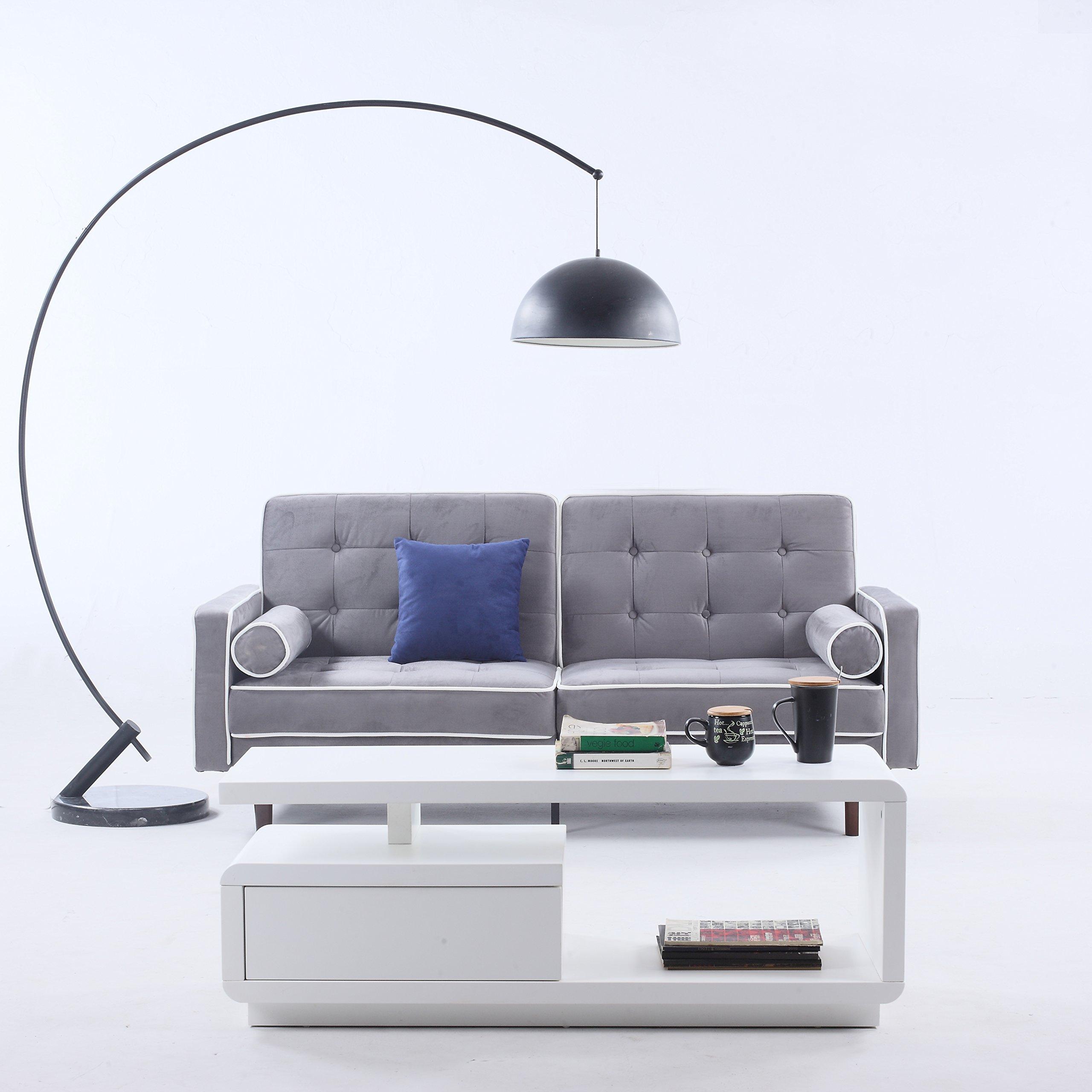 Divano Roma Furniture Mid Century Modern Two Tone Split Back Tufted Velvet Futon, Light Grey by Divano Roma Furniture