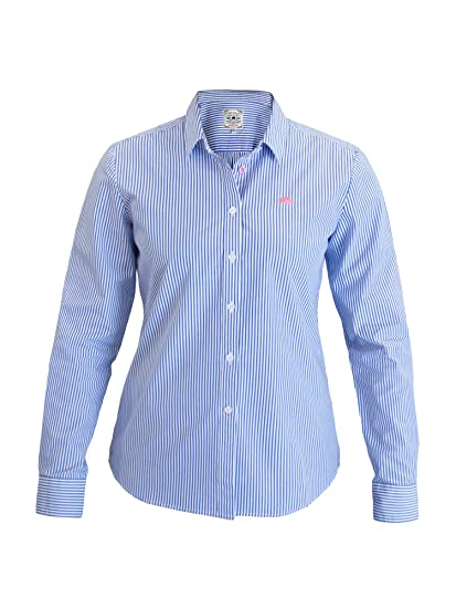 380167fdc55c8c Raging Bull Ladies Pinstripe Shirt - Mid Blue 8: Amazon.co.uk: Clothing