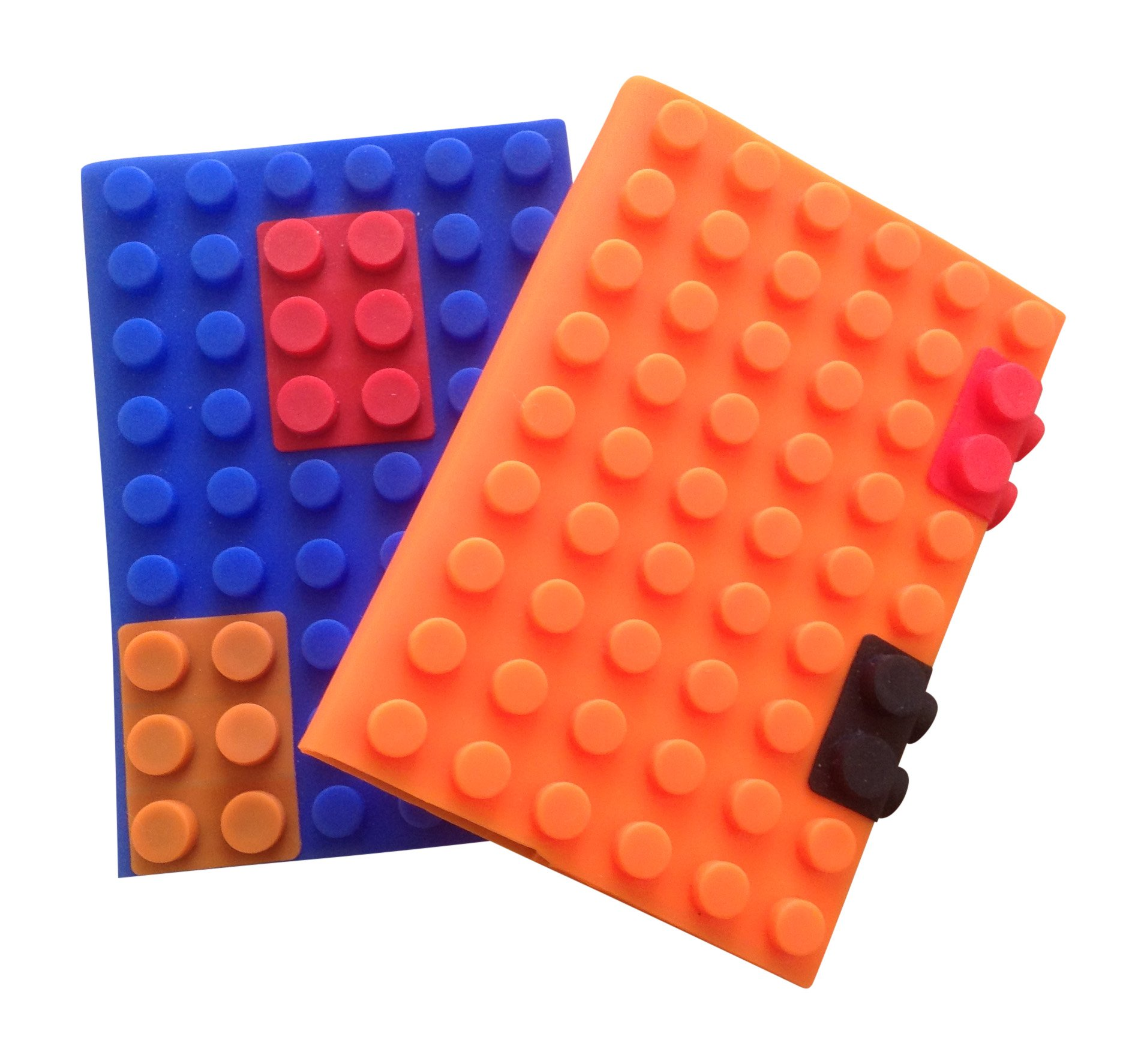 A6 Notebook Soft Cover Small Journal Diary Writing Pad (2-pack) | Pocket Size Fun Building Block Silicone | Use For Office | Kids Party Favors. 100 Ruled Pages 4'' x 5.75''. Capture Your Best Ideas