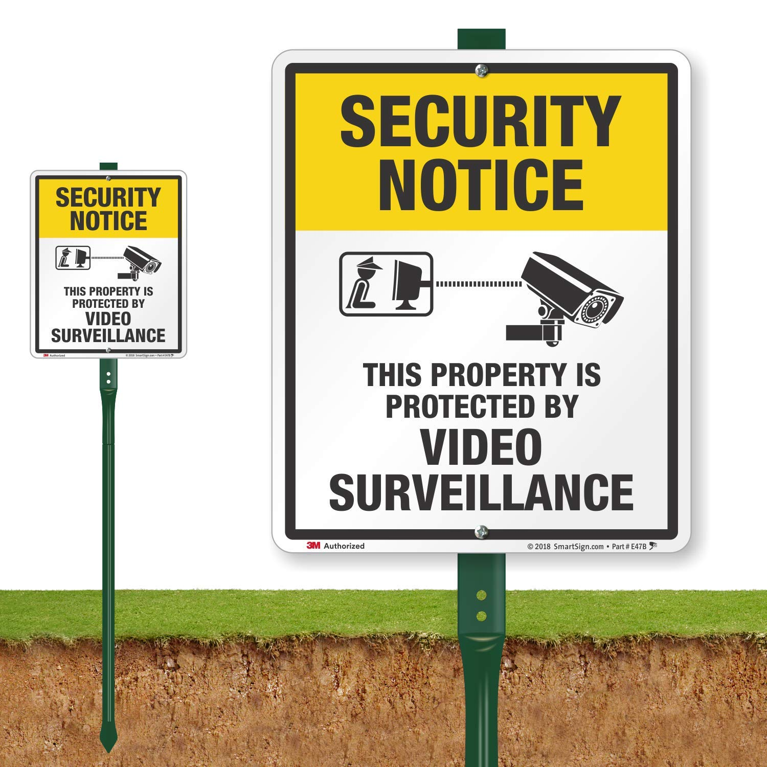 E47B This Property is Protected by Video Surveillance Sign for Lawn SmartSign/Security Notice 12 x 10 Aluminum Sign with 3 Stake New Lyle Signs Inc