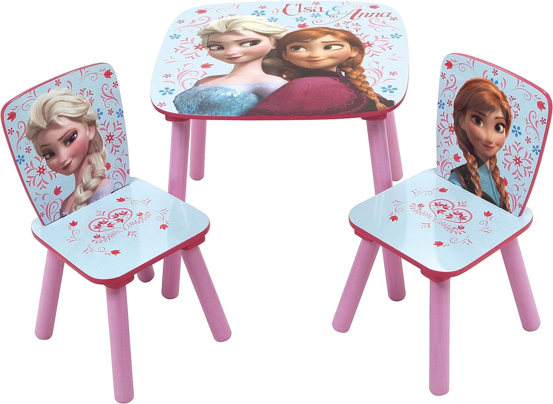 ARDITEX WD12895 Set de Mesa (50x50x44cm) y 2 Sillas (26.5x26.5x50cm) de Madera de Disney-Frozen