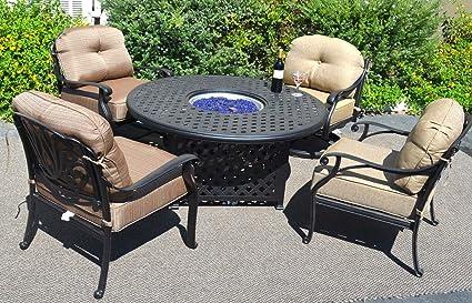 Propane Fire Pit Table Set Elisabeth 5pc Deep Seating Cast Aluminum Patio  Furniture Desert Bronze