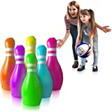 GoSlaz Giant Inflatable Bowling Pins - Outdoor Lawn Bowling Play Set for Kids - Back Yard Large Plastic Bowling Game Play Set