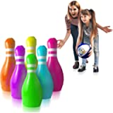 GoSlaz Giant Inflatable Bowling Pins - Outdoor Lawn Bowling Play Set for Kids - Back Yard Large Plastic Bowling Game…