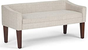 SIMPLIHOME Parris Upholstered 50 inch Wide Bench, Stylish Low Back and Swooped Arms, with Extra Suport, Simple Assembly, Just Attach Legs, Contemporary, in Platinum