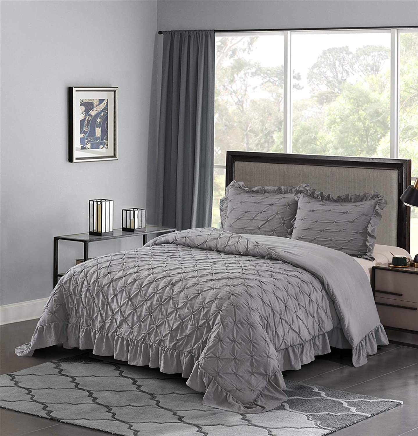 HIG Shabby Chic Comforter Set Queen Gray Lace Ruffled - Pintuck Pinch Pleat Design - Super Soft Hypoallergenic Prewashed Microfiber Lightweight - 3 Piece Bedding Set with Two Shams(BRIANNA-Queen,Gray)