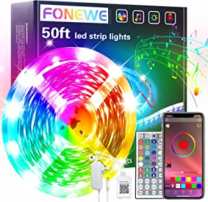 50ft LED Lights for Bedroom FONEWE RGB Color Changing LED Light Strips Bluetooth APP and Remote Control Timing Function LED Strip Lights for Room Party Decorations