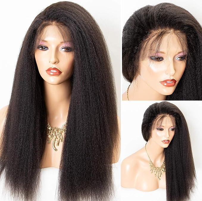 chantiche aspecto natural italiano Yaki tablón Full pelucas de encaje con bebé pelo humano Remy para las mujeres negro mejor de Brasil peluca de pelo luz ...