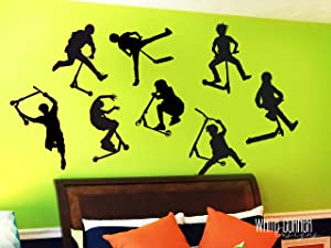 8 Stunt Scooter Stickers - Scooter Wall Decal, Scooter Sticker, Bicycle Wall Decal, Boys Wall Decal, Gift for Him, Kids Room Decor ga251