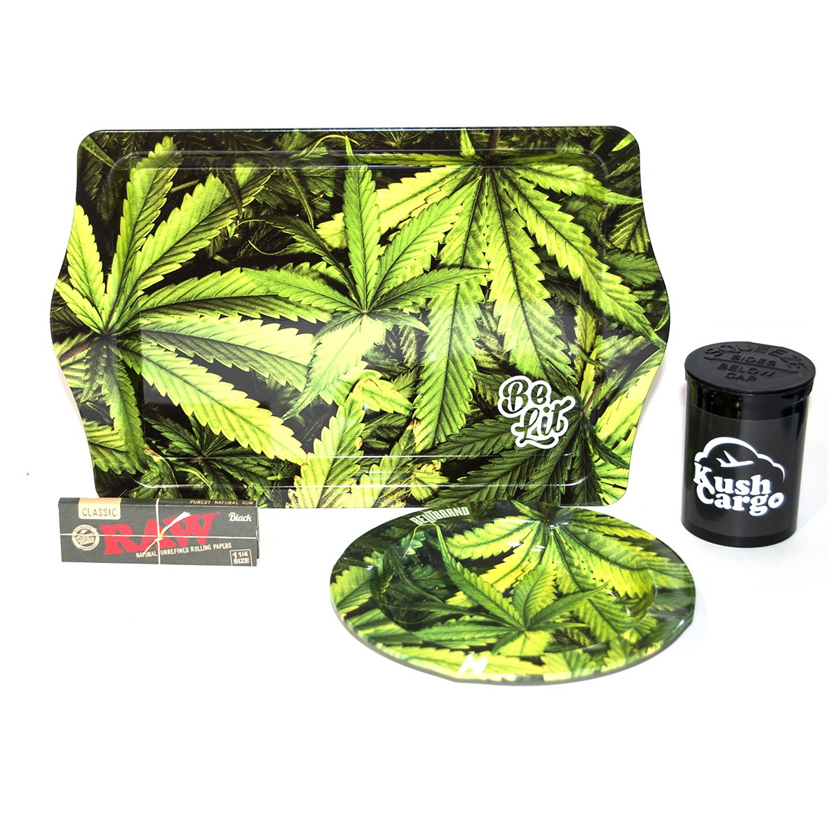 Bundle - 4 Items - Be Lit Rolling Tray Travel Size + Be Lit Leafy Ash Tray with RAW Rolling Papers