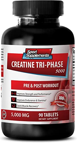 Creatine Pills 5000mg – Creatine Tri Phase 5000 Mg – Increase in Muscle Size 1 Bottle – 90 Tablets