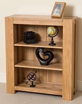MODERN FURNITURE DIRECT Kuba Small Hand Crafted Solid Oak Bookcase BookShelf 91 X 35x