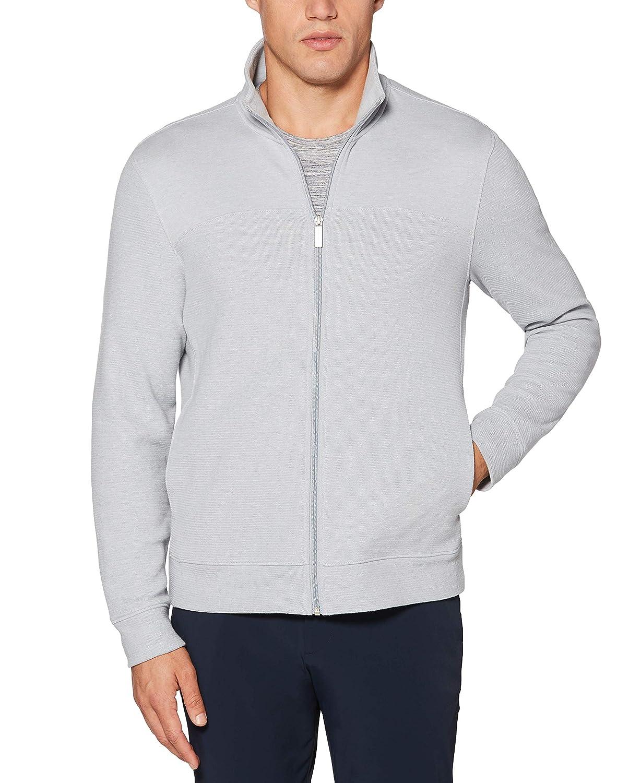 Perry Ellis Mens Cotton Blend Full Zip Texture Knit Jacket