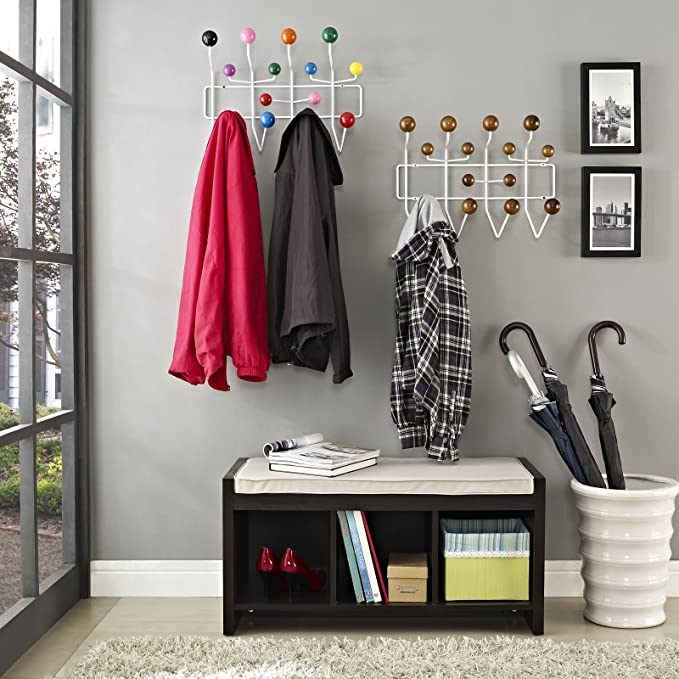 Modway Gumball Mid-Century Wall-Mounted Coat Rack in Caramel