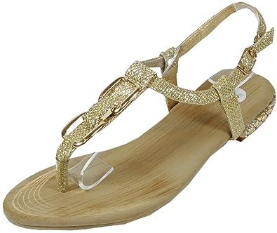 reputable site 38a2e 56d71 Blonna - coole Sandale mit Metallsteinen Pailetten Knöchelriemchen Schaft  Zehentrenner LederOptik Damen Sommer Schuhe 36 37 38 39 40 41