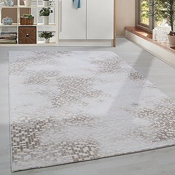 Hochwertiger Acryl Teppich In Sbstrakt Gesäumten Stil Mit Und Fransen, 3D  Effekt 5 Groessen Beige