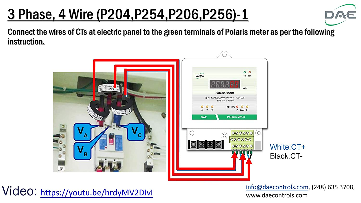 277//480v 200A inner dia. 1.02 3P4W 3 CTs UL kWh Smart Submeter 3 hot wire, 1 Neutral DAE P206-200-S KIT Polaris 2000