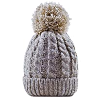 Women's Winter Beanie Warm Fleece Lining Thick Slouchy Cable Knit Hat(5color)