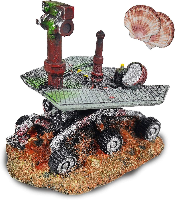 Fish Tank Decorations, Mars Rover Curiosity Aquarium Ornament, Aquarium Decorations, Creative Betta Fish Hide Cave,UFO, Apollo moon landing module,for fish tank accessories (includes 2 pieces shells)