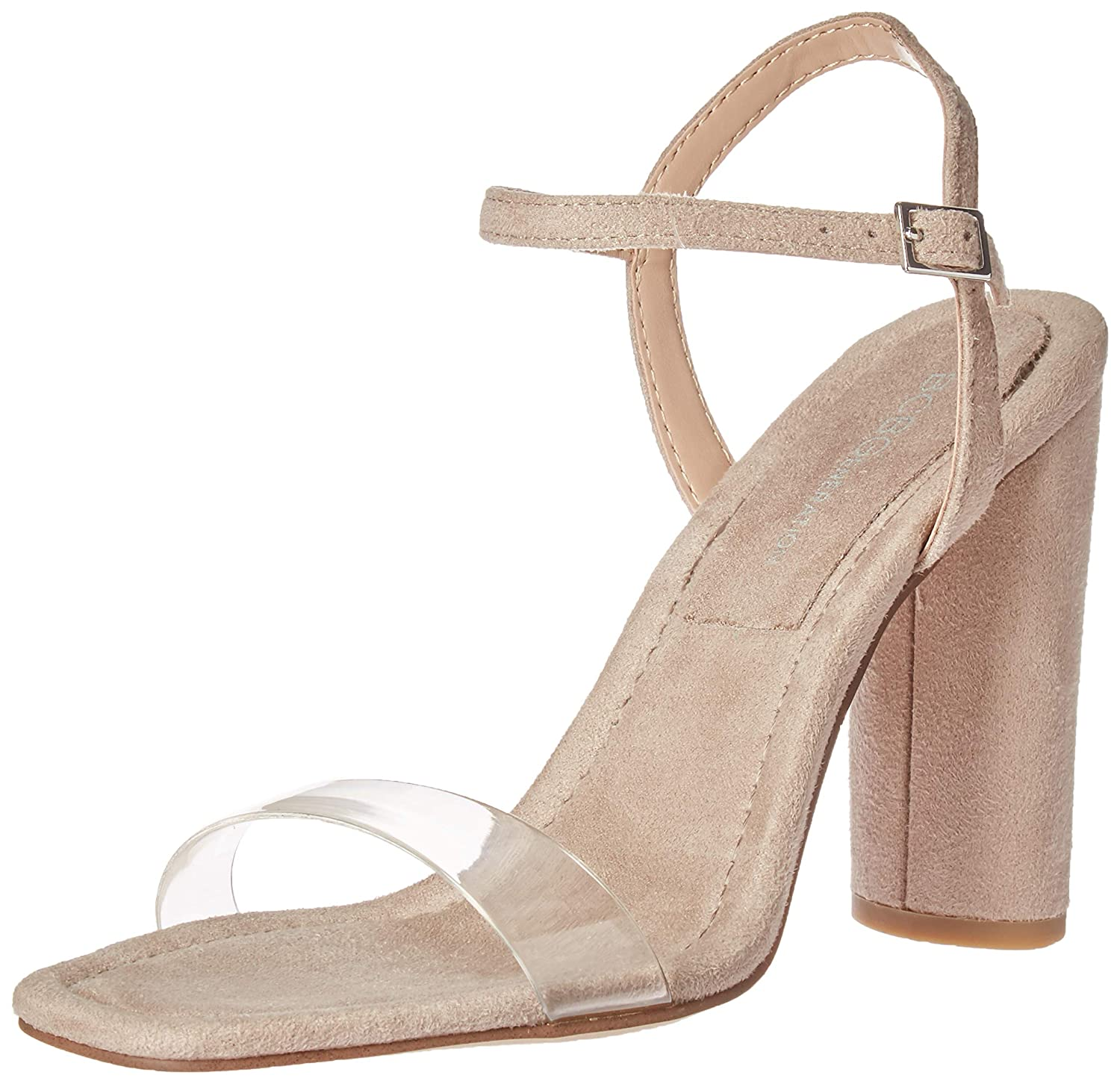 New Taupe Clear BCBGeneration Womens Ilsie Dress Sandal Pump