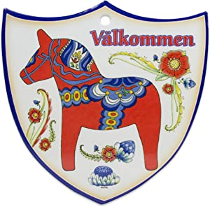 """Essence of Europe Gifts E.H.G Decorative Swedish Red/Orange Dala Horse Arwork with Valkommen Wall Hanging Ceramic Welcome 7.5"""" Shield by E.H.G."""