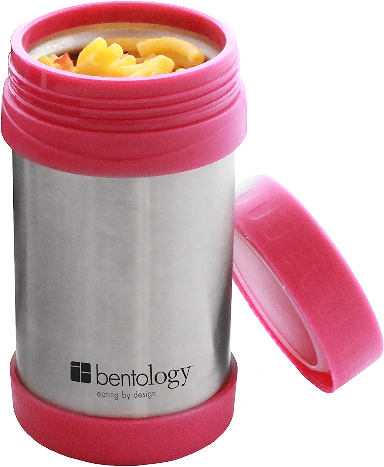 Bentology Stainless Steel Vacuum Insulated Food Jar - 17 oz Pink - Large Lunch Jar for Soup and more - Contains No Phthalates, BPA, or PVC
