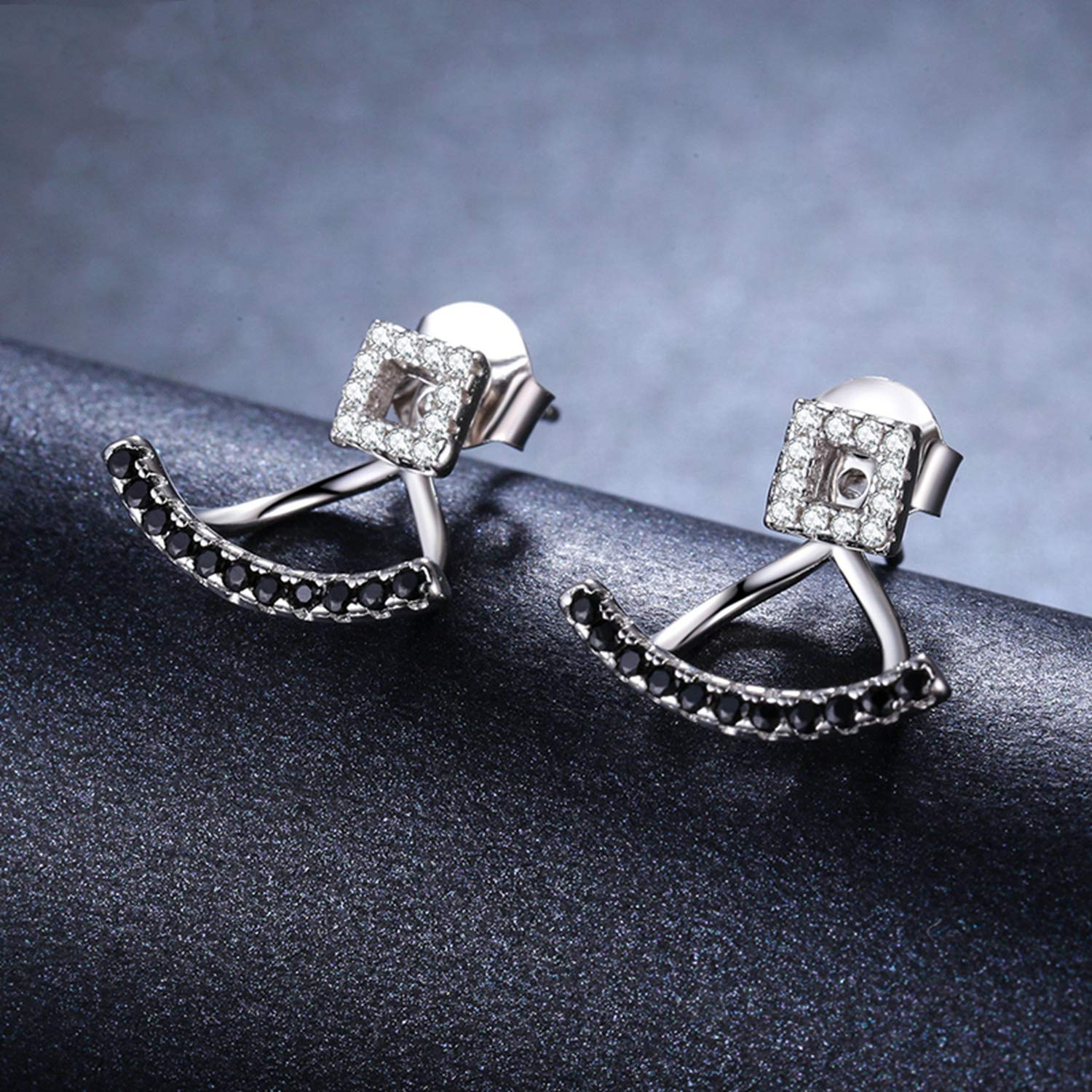 Ashley-OU 925 Sterling Silver Jewelry Engagement Stud Earrings Female Smile Boucles doreilles I020 A