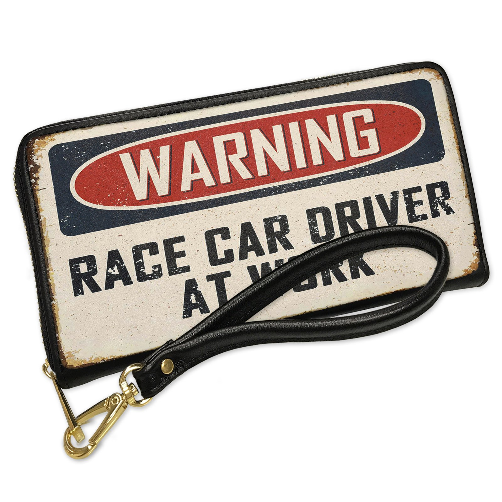 Wallet Clutch Warning Race Car Driver At Work Vintage Fun Job Sign with Removable Wristlet Strap Neonblond