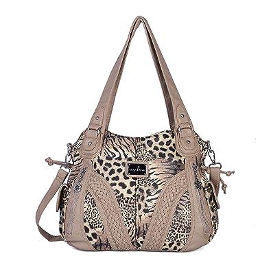 8f5a383c021 Angelkiss Women Top Handle Satchel Handbags Shoulder Bag Messenger Tote  Washed Leather Purses Bag …