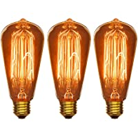 Sunlite 40S19/AQ/T/SM/3PK Bombillas incandescentes, de base mediana, antiguas estilo Edison S19, paquete de 3, 120 voltios, 40 vatios