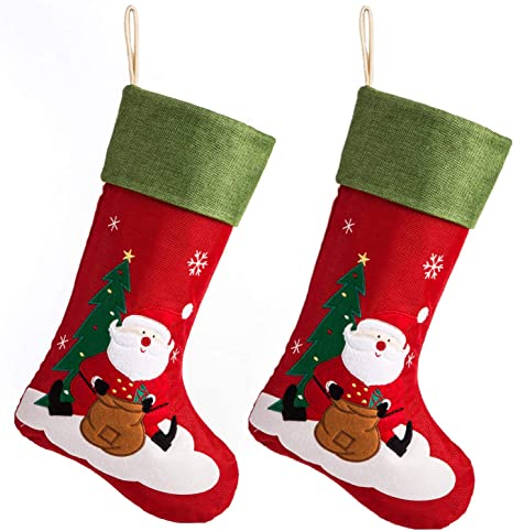 Ipegtop 18 Burlap Christmas Stocking Large Craft Socks Traditional Santa Stockings Snowflake Decorations Xmas Tree Rustic Ornaments Green Cuff 2 Pack Home Kitchen
