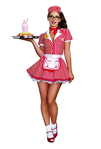 50s Costumes | 50s Halloween Costumes Dreamgirl Womens 50s 60s Retro Striped Diner Doll Waitress Costume  AT vintagedancer.com