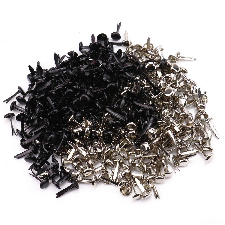 Black and Sliver Monrocco 8mm 400pcs Mini Brads Round Metal Brad Paper Fastener Craft Brads