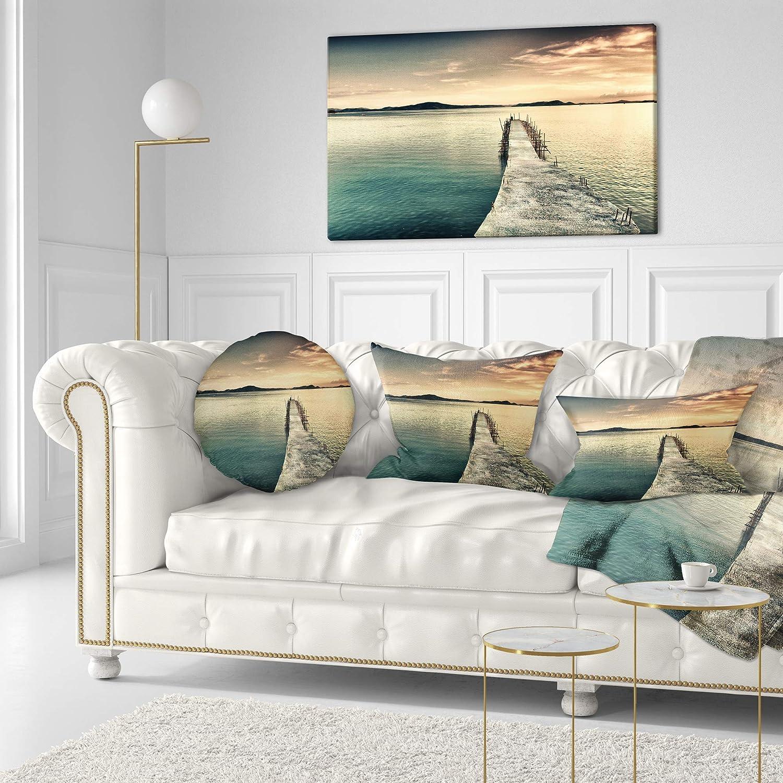 Sofa Throw Pillow 20 Insert Printed On Both Side Designart CU14847-20-20-C Sea Deep Ocean Bridge Round Cushion Cover for Living Room