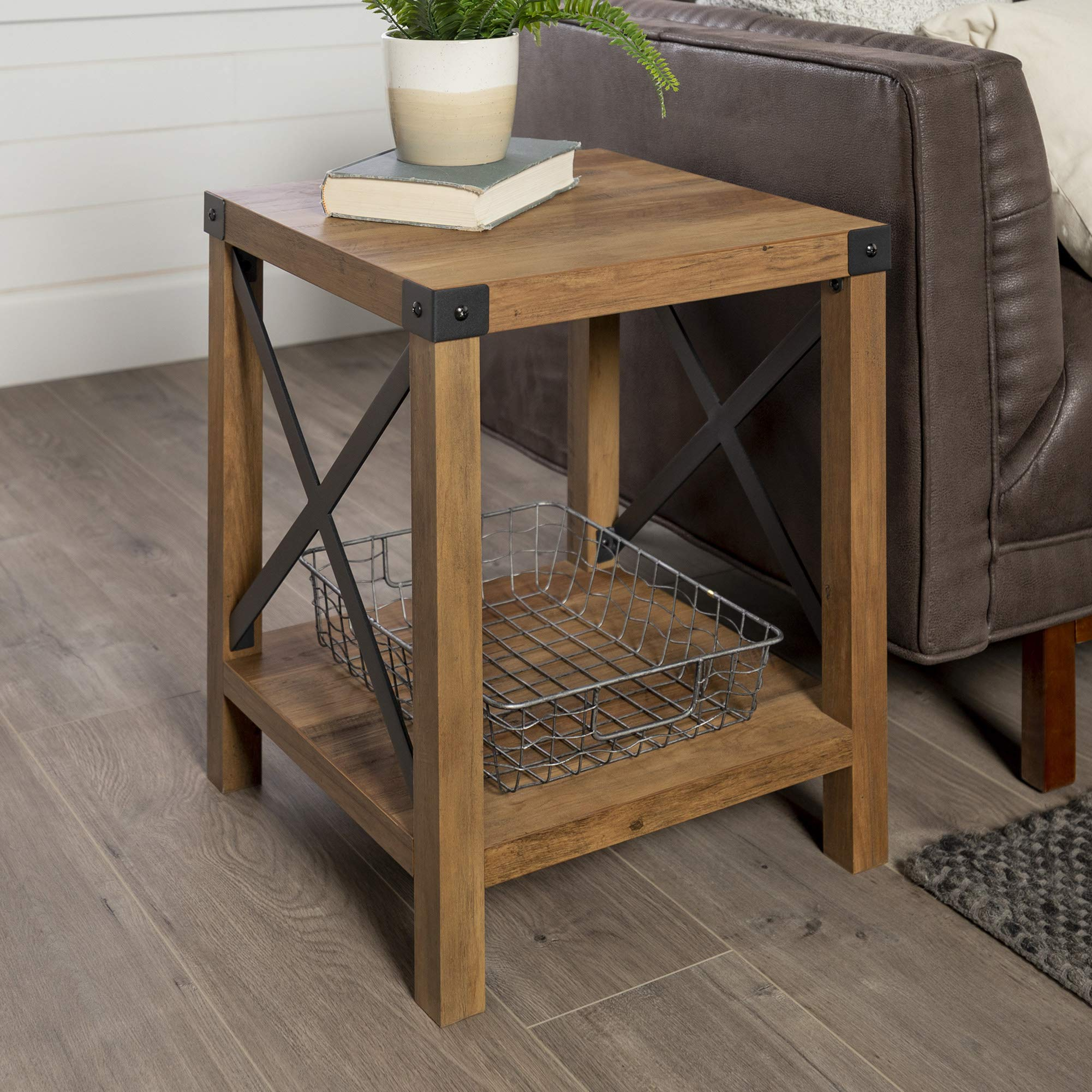 WE Furniture Rustic Modern Farmhouse Square Side End Accent Table Living Room, 18 Inch, Brown Reclaimed Barnwood by WE Furniture
