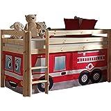 Vipack PICOHSZG1070 Spielbett Pino mit Textilset Feuerwehr, Maße 210 x 114 x 106 cm, Liegefläche 90 x 200 cm, Kiefer massiv natur lackiert