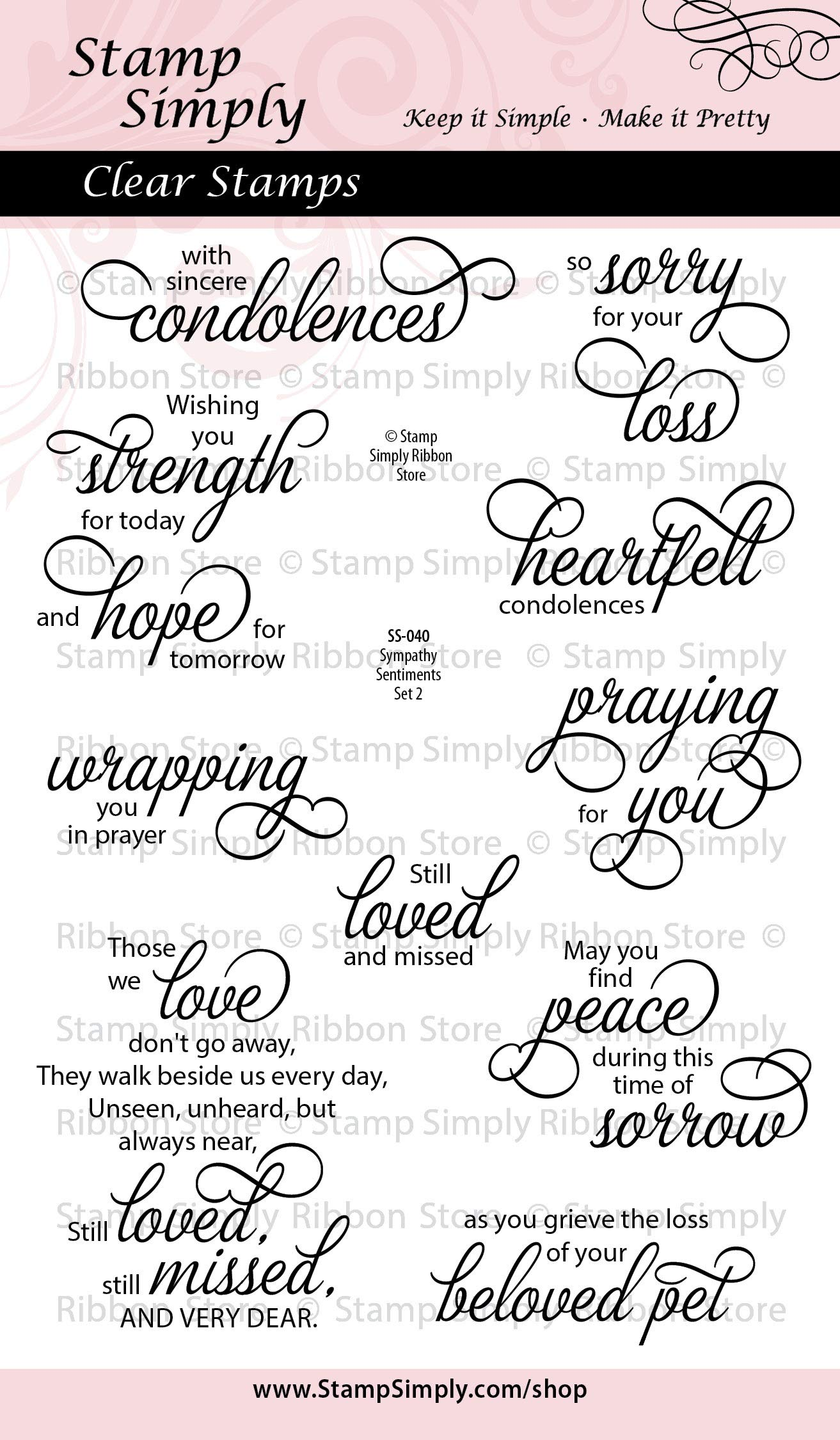 Stamp Simply Clear Stamps Sympathy Sentiments Set Two Christian Religious Loss of a Pet 4x6 Inch Sheets - 10 Pieces