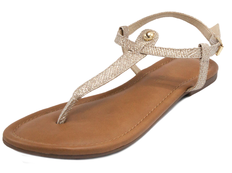 Rampage Women's Pashmina Flat Sandal Gold Glitter 10