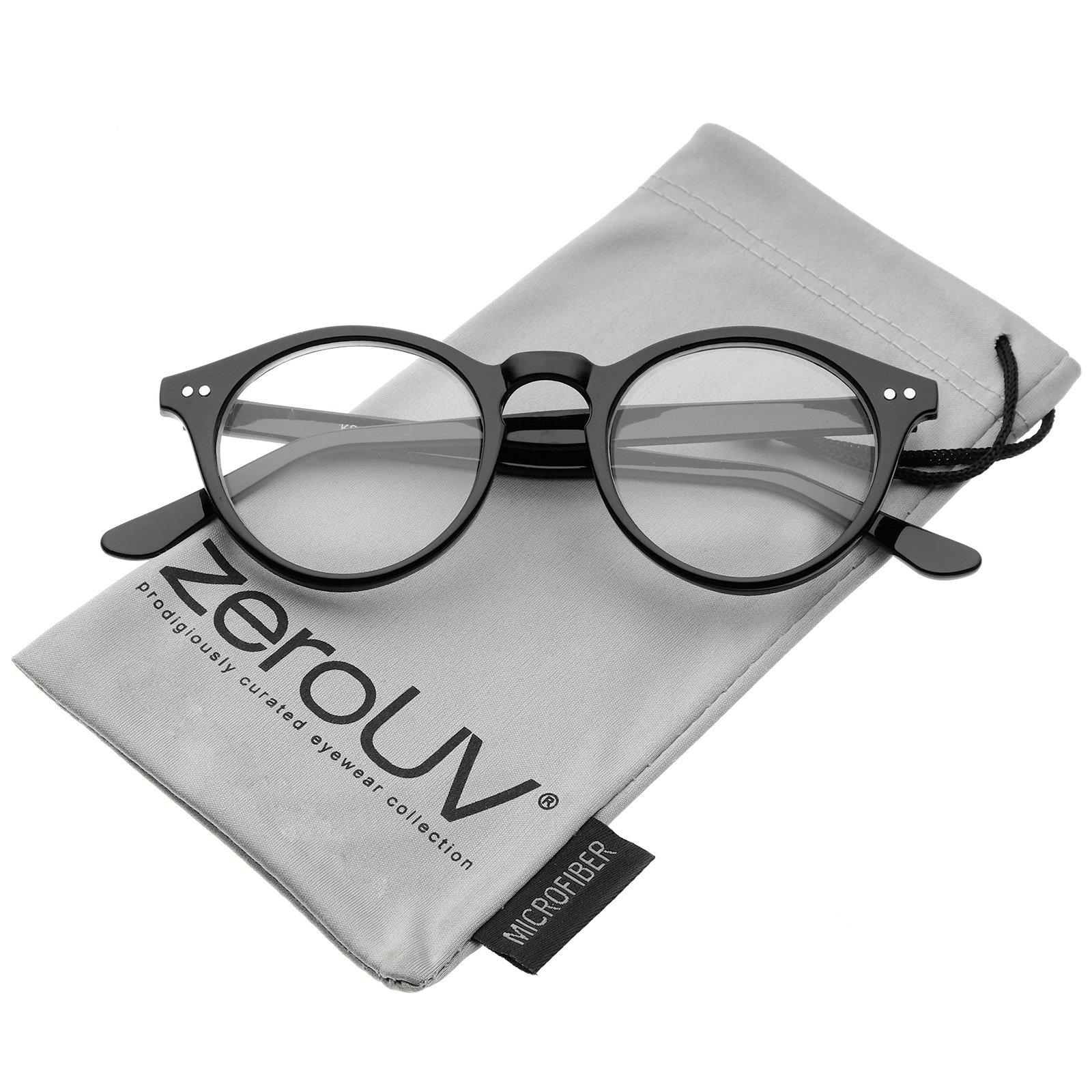 Retro Keyhole Nose Bridge Clear Lens P3 Round Glasses 46mm (Black/Clear)