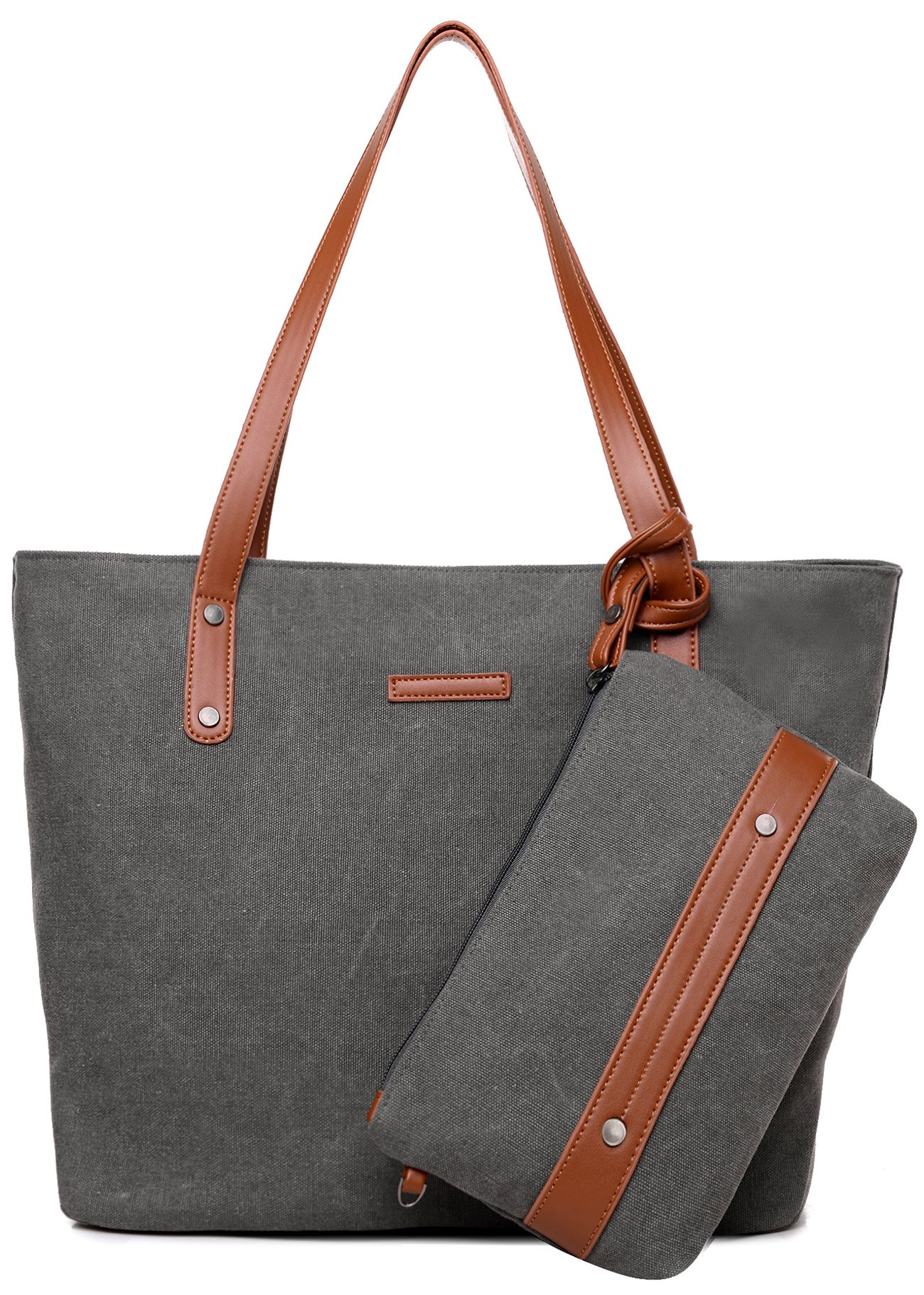 Satchel Handbags and Purses for Women Shoulder Tote Bags Wallets (Grey) by PlasMaller