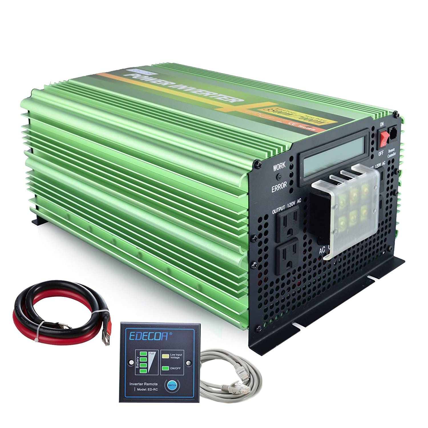 Edecoa Pure Sine Wave Power Inverter 3500w Dc 12v To Ac Solar Inverters Block Diagram Electronic Products 120v With Lcd Display And Remote Controller 4 Outlets 1 Hardwire Terminal Car