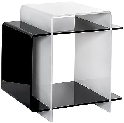 Iplex Design 70\'s Comodino/Tavolino in Plexiglass, Bianco/Nero ...